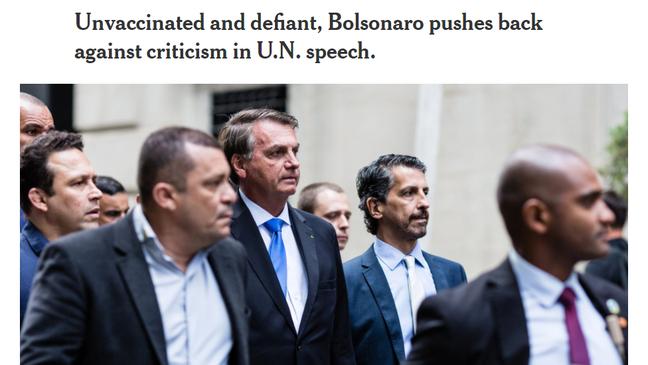'Não vacinado e provocador, Bolsonaro responde a críticas em discurso na ONU', diz título de reportagem do New York Times
