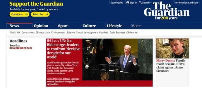 Britânico The Guardian destaca em seu 'ao vivo' fato de Bolsonaro não ter se vacinado contra a covid
