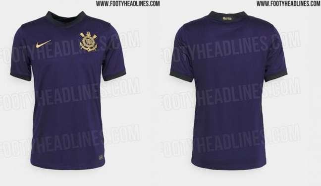 Terceira camisa do Corinthians será na cor roxa com detalhes em dourado (Foto: Reprodução/Footy Headlines)
