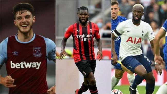 Rice, Kessié e Ndombélé chamam a atenção do Manchester United (Foto: Divulgação; Reprodução / Instagram; AFP)