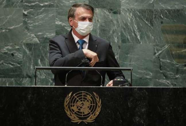 Bolsonaro durante discurso na Assembleia-Geral da ONU