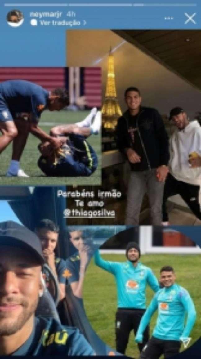 Neymar homenageou Thiago Silva (Foto: Reprodução/Redes sociais)