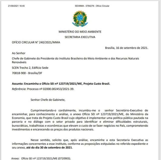Ofício do Ministério da Economia foi elaborado em maio