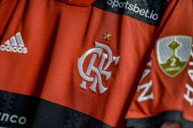Camisa do Flamengo usada no jogo de ida da semifinal da Libertadores (Foto: Marcelo Cortes/Flamengo)