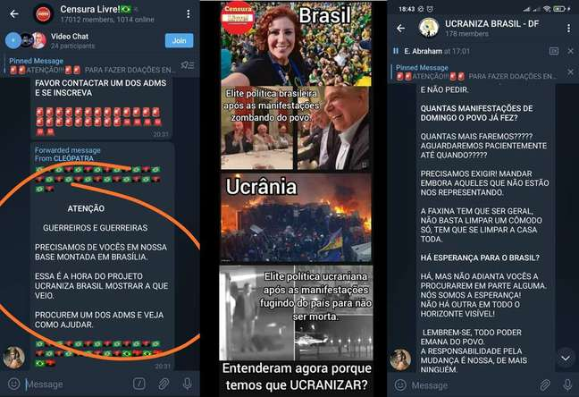 Mensagens que circulam em grupos virtuais defendem levante inspirado na Ucrânia de 2014