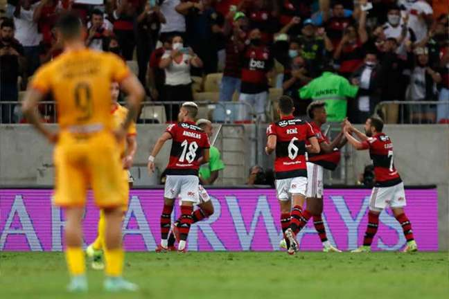 Com dois de Bruno Henrique, Flamengo garantiu a vantagem no jogo de volta contra o Barcelona (EQU) na semifinal da Libertadores (Foto: Gilvan de Souza / Flamengo)