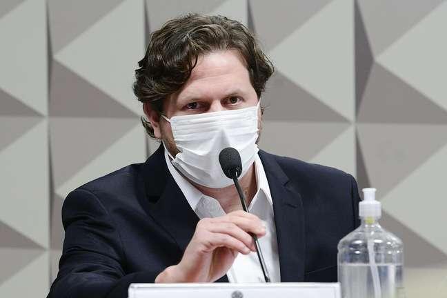 Empresário Danilo Trento, diretor institucional da Precisa, durante depoimento à CPI