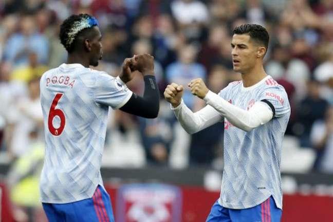 Pogba e CR7 são destaques do Manchester United (Foto: IAN KINGTON / AFP)