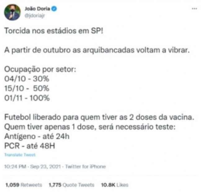 Governador João Doria anuncia volta de público aos estádios (Foto: Reprodução / Twitter João Doria)