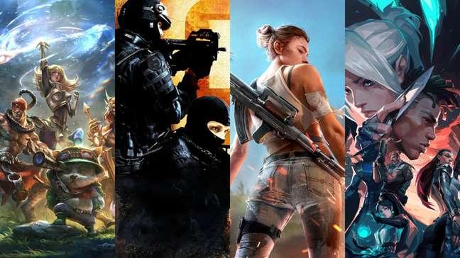 Torneios de LoL, CS:GO, Free Fire e Valorant da Ambev vão distribuir R$ 200 mil em prêmios (Imagens: Divulgação/Riot Games, Valve e Garena)