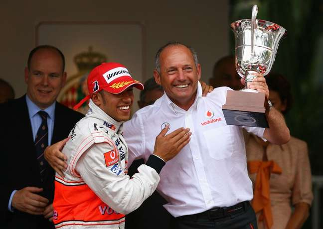 Dennis e Hamilton comemoram vitória em Mônaco, 2008