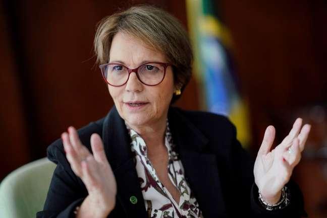 """Ministra da Agricultura, Tereza Cristina, classificou reconhecimento de áreas livres de aftosa sem vacinação como """"um marco"""" para a pecuária REUTERS/Ueslei Marcelino"""
