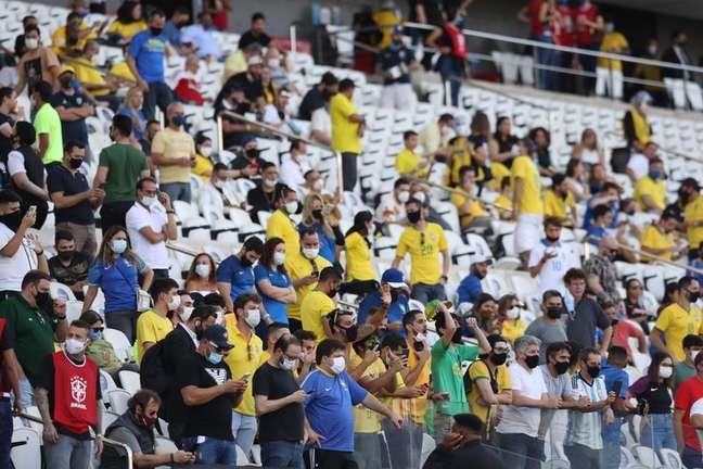 Torcida na Arena Corinthians para jogo Brasil x Argentina  5/9/2021    REUTERS/Amanda Perobelli