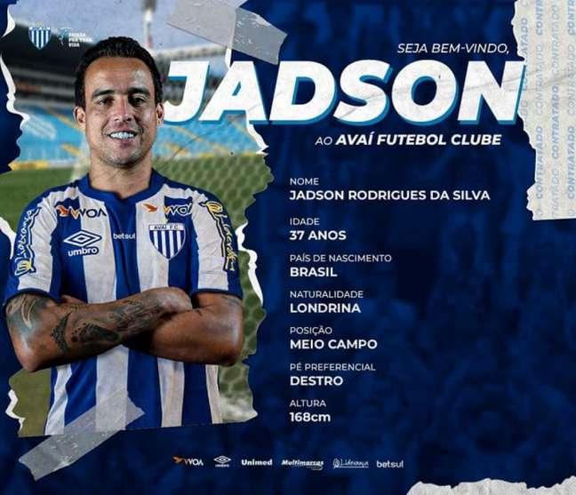 Jogador atuará pela primeira vez no futebol catarinense (Divulgação/Avaí)