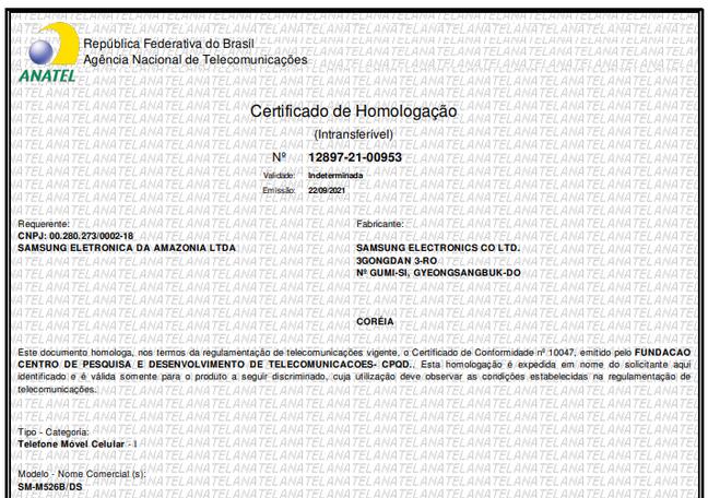 Certificado de homologação do Galaxy M52 5G na Anatel