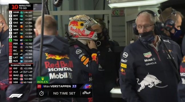 Max Verstappen só completou uma volta na classificação deste sábado