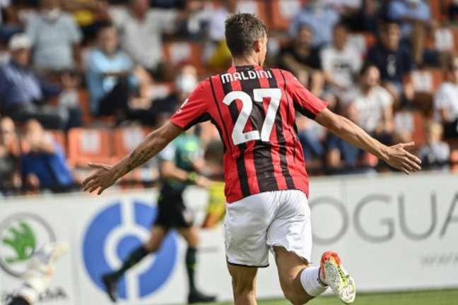 Daniel Maldini marcou o primeiro gol da vitória do Milan sobre o Spezia (ALBERTO PIZZOLI / AFP)