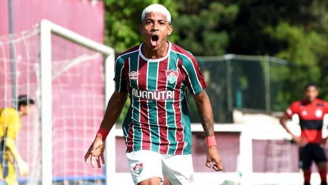 John Kennedy fez três gols no clássico entre Fluminense e Flamengo, pelo Carioca Sub-20 (Foto: Mailson Santana/FFC)