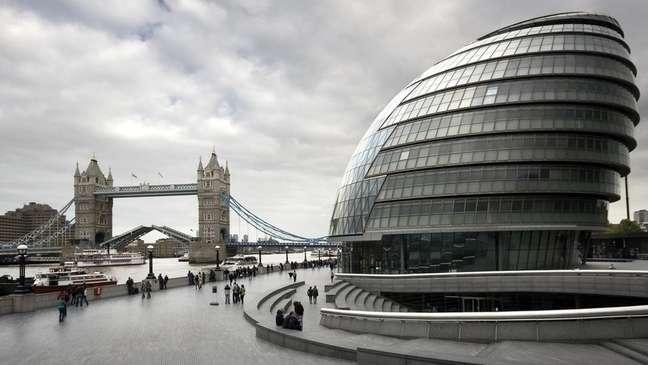 A sede da prefeitura de Londres é um dos exemplos do uso da forma ovoide na arquitetura