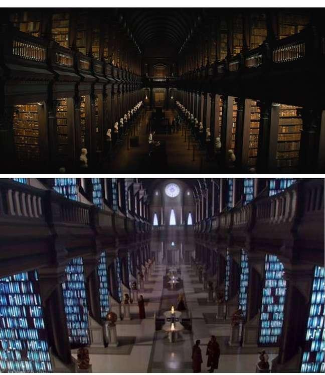 Essa é divertida: A imagem de cima é a biblioteca na Universidade em Trantor. Abaixo os Arquivos Jedi em Coruscant. As duas cenas foram filmadas na biblioteca da Trinity University, em Dublin. Só que não dá pra acusar de kibe, pois Coruscant foi baseada em Trantor.