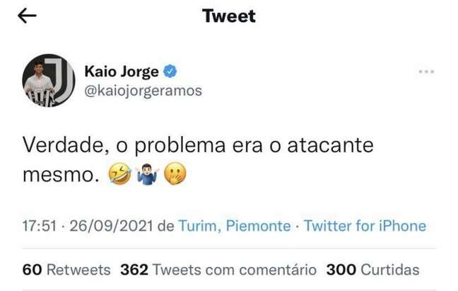 Kaio Jorge ironizou o Santos nas redes sociais após a derrota para o Juventude (FOTO: Reprodução)