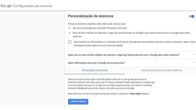 Página de privacidade do Google