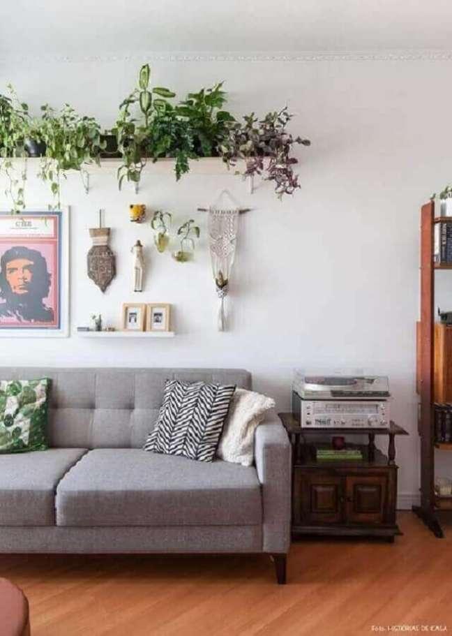 61. Vasos com plantas para decoração de sala simples com sofá cinza – Foto: Gisele Rampazzo
