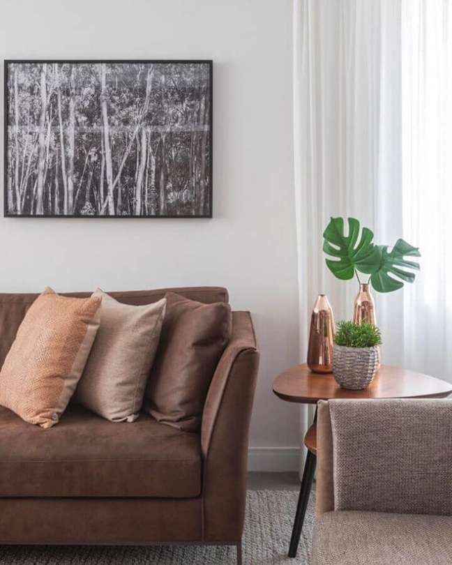 43. Vasos com plantas para decoração de sala com almofadas para sofa marrom – Foto: Karen Pisacane