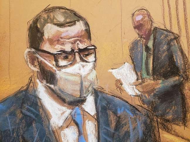 Retrato de R. Kelly ouvindo jurado ler veredito de culpado em julgamento 27/09/2021 REUTERS/Jane Rosenberg