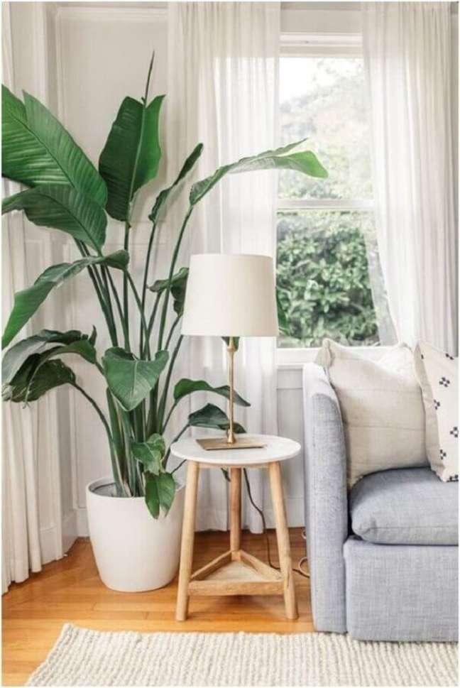 1. Decoração de sala com plantas naturais e sofá cinza – Foto: Decor Fácil