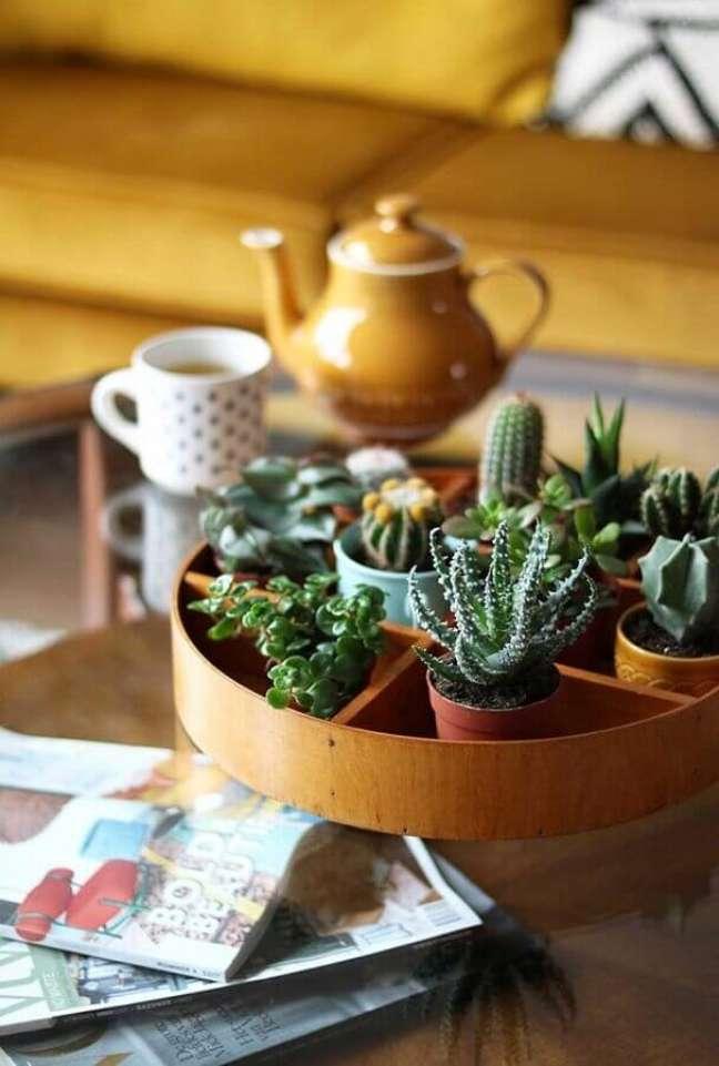 4. Ideia de decoração de sala pequena com plantas – Foto: Ideias Decor