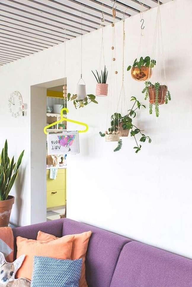 19. Decoração de sala com plantas pendentes e sofa roxo – Foto: Revista Artesanato