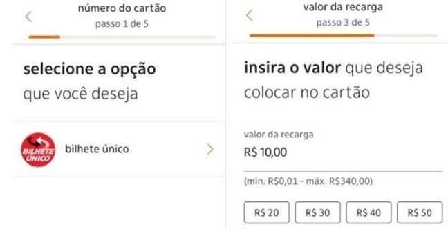 Recarregando o Bilhete Único via app do Itaú