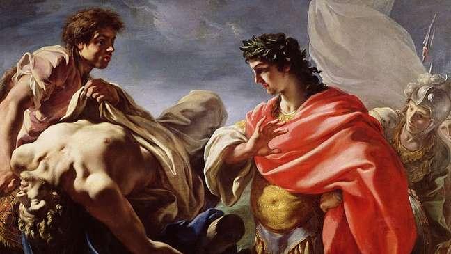 Aquiles contemplando o corpo de Patroclo.
