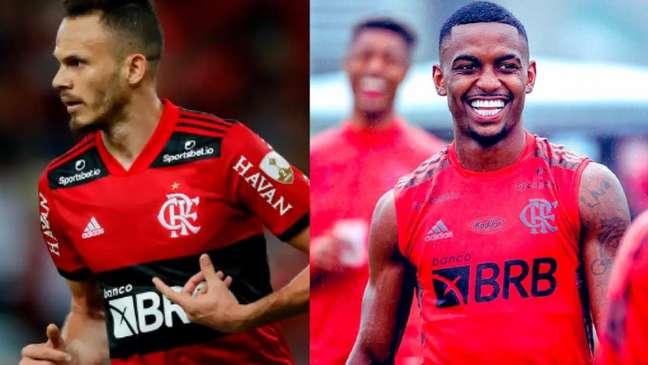 Rene, à esquerda, foi titular nos últimos quatro jogos do Flamengo, enquanto Ramon, à direita, foi titular apenas contra o Palmeiras (Foto: Montagem LANCE!)