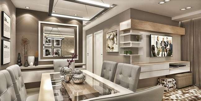 33. Sala de jantar de apartamento de luxo com mesa de vidro. Fonte: Caroline Yasmin Goncalves