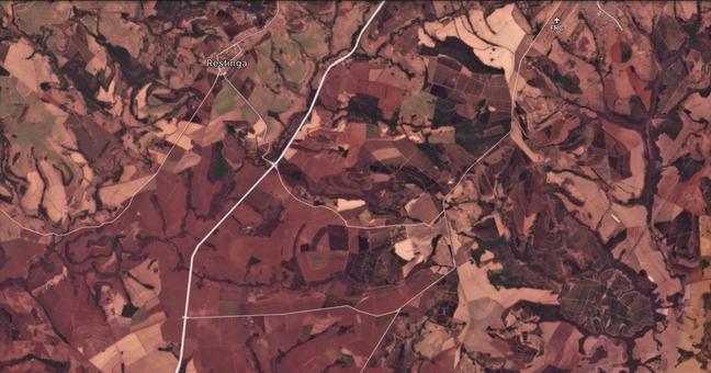 Imagem de satélite dos arredores de Franca, uma das cidades impactadas pela tempestade de poeira
