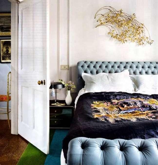 44. Modelo de cabeceira capitonê casal para quarto decorado – Foto: MHerger Furniture