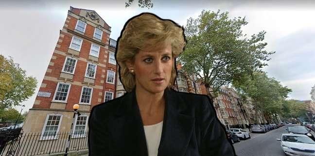 Diana diante do prédio onde viveu antes de se tornar a Princesa de Gales e mulher mais fotografada do planeta