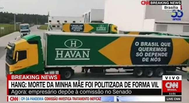 """""""Pois só a gente tem o manto e a alma verde e amarela"""", diz o comercial da Havan exibido na CPI da Covid"""