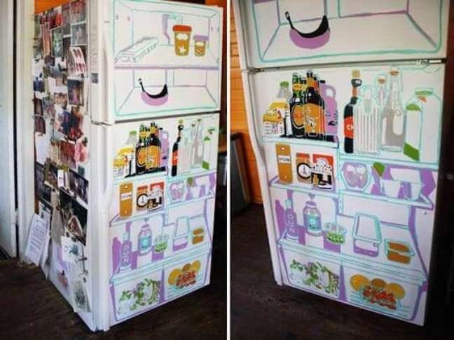 21. Geladeira divertida com estampa que imita o interior de uma geladeira. Fonte: Prepona