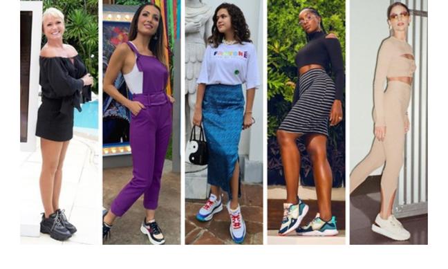"""Famosas com """"tênis feio"""" (Fotos: Reprodução/Instagram)"""