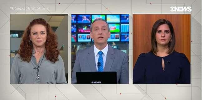 Os âncoras do 'Conexão GloboNews' Leilane Neubarth, José Roberto Burnier e Camila Bomfim