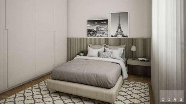 19. Cabeceira ripada verde no quarto cinza minimalista – Foto Estúdio Coas