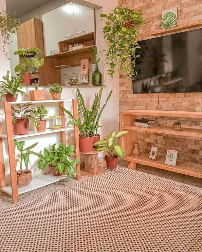 4. Vasos de plantas para decoração de sala de TV rustica e simples – Foto: Casa 41