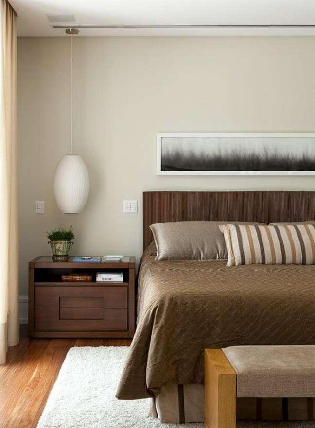 16. Decoração de quarto de madeira com cabeceira ripada – Foto CSDA Arquitetura