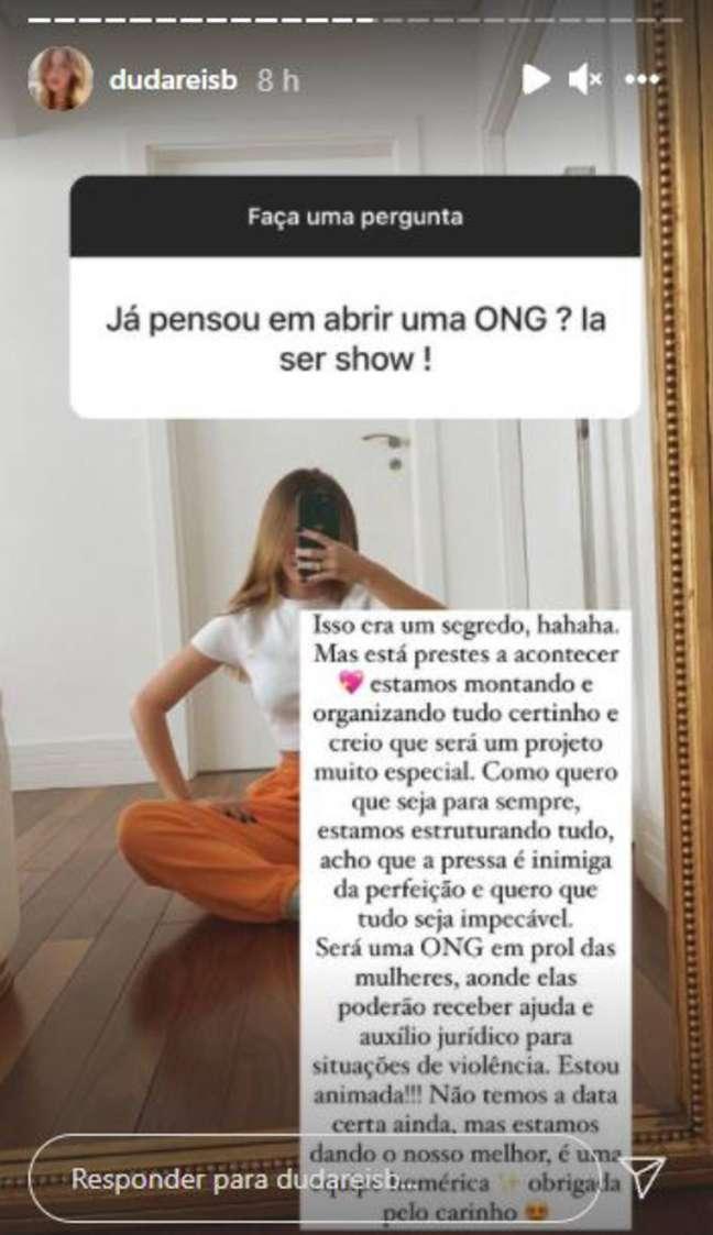 Imagem de um dos stories em que Duda Reis responde a um seguidor sobre ONG contra violência doméstica