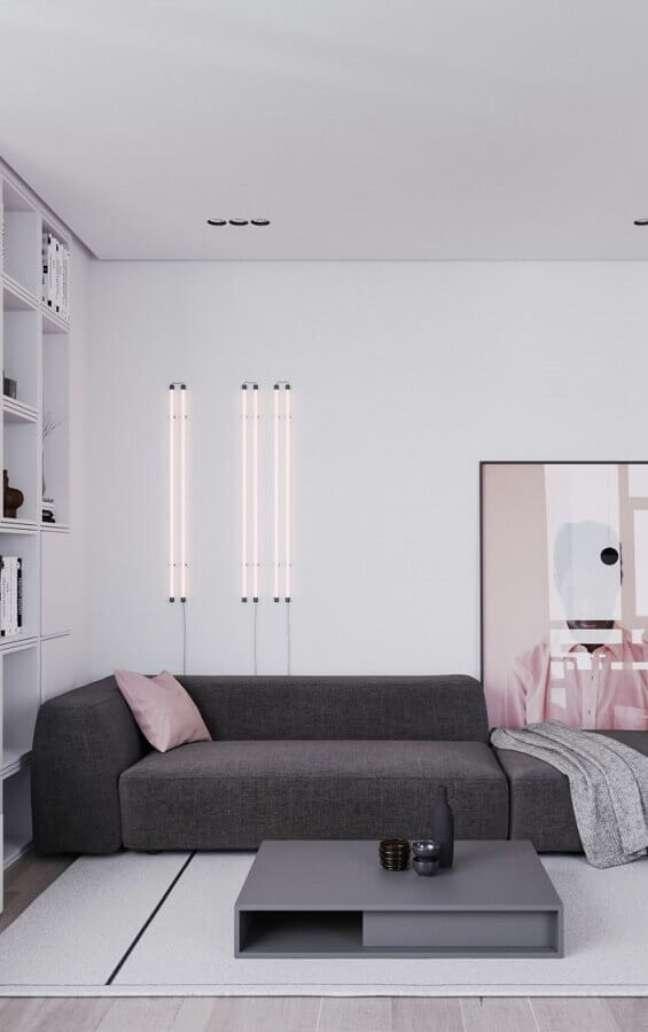 52. Cores modernas de casas minimalistas decorada com sofa cinza para sala branca – Foto: Architizer