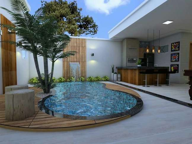 43. Quintal com piscina e churrasqueira moderna – Foto Arq e Design