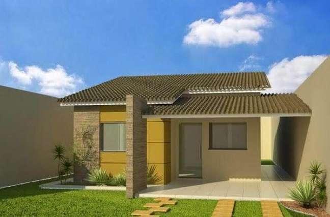 5. Fachadas de casas simples com coluna revestida de pedras. Fonte: ConstruindoDecor